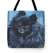 Pomeranian Black Tote Bag by Lee Ann Shepard