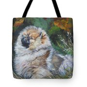 Pomeranian Puppy Autumn Leaves Tote Bag