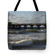 Pompano Beach Fishing Pier At Sunrise Florida Sunrise Waves Tote Bag