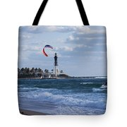 Pompano Beach Kiteboarder Hillsboro Lighthouse Tote Bag