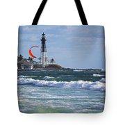 Pompano Beach Kiteboarder Hillsboro Lighthouse Waves Tote Bag