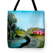 Pond By The Red Barn Dreamy Mirage Tote Bag