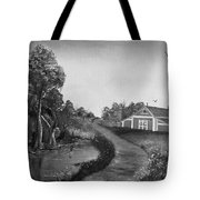 Pond By The Red Barn In Black And White Tote Bag