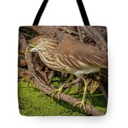 Pond Heron With Fish  Tote Bag
