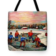 Pond Hockey Countryscene Tote Bag