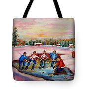 Pond Hockey Warm Day Tote Bag