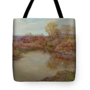 Pond In Early Autumn Tote Bag