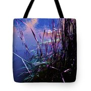 Pond Reeds At Sunset Tote Bag