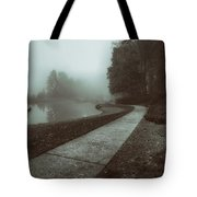 Pond Walk In Black And White Tote Bag