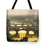 Ponte Vecchio Enlighten By The Warm Sunlight, Florence. Tote Bag