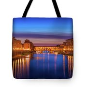 Ponte Vecchio Nigth Panorama Tote Bag