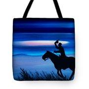 Pony Express Rider Blue Tote Bag