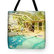 Pool And Screened Pool House Tote Bag