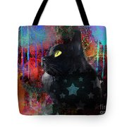 Pop Art Black Cat Painting Print Tote Bag by Svetlana Novikova