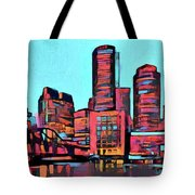 Pop Art Boston Skyline Tote Bag