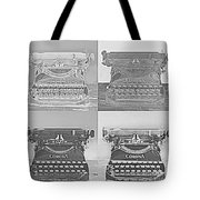 Pop Art Typewriter Collage Black And White Tote Bag