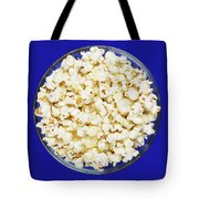 Popcorn In Glass Bowl On Blue Background Tote Bag