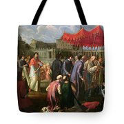 Pope Clement Xi In A Procession In St. Peter's Square In Rome Tote Bag