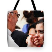 Pope Francis And Woman Painting  Tote Bag