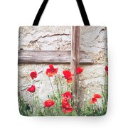 Poppies Against Wall Tote Bag