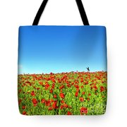 Poppies And A Photographer Tote Bag