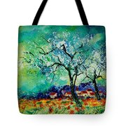 Poppies And Appletrees In Blossom Tote Bag