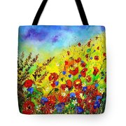 Poppies And Blue Bells Tote Bag