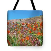 Poppies And Fiddleneck In Antelope Valley Ca Poppy Reserve Tote Bag