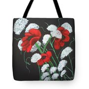Poppies And Lace Tote Bag