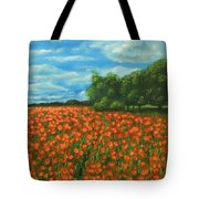 Poppies Field Original Painting Tote Bag