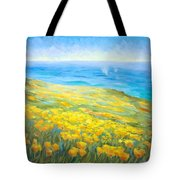 Poppies Greeting Whales Tote Bag