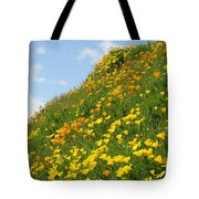 Poppies Hillside Meadow 17 Blue Sky White Clouds Giclee Art Prints Baslee Troutman Tote Bag