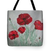 Poppies In The Mist Tote Bag