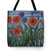 Poppies, Iris, Giant Alium Tote Bag
