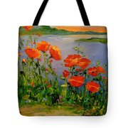 Poppies Near The River Tote Bag