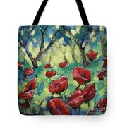 Poppies Through The Forest Tote Bag