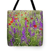 Poppy And Wild Flowers Meadow Nature Scene Tote Bag