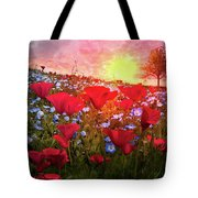 Poppy Fields At Dawn Tote Bag