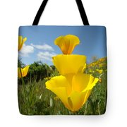 Poppy Flower Meadow 7 Poppies Blue Sky Artwork Baslee Troutman Tote Bag