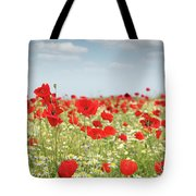 Poppy Flowers Field Nature Spring Scene Tote Bag