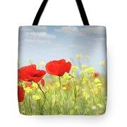 Poppy Flowers Nature Spring Scene Tote Bag