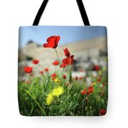 Red Poppy Flower On The Meadow Tote Bag