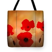 Poppy Triptych Tote Bag by Valerie Anne Kelly