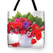Poppy With Sweet Pea And Corn Flowers On White Tote Bag