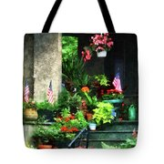 Porch With Geraniums And American Flags Tote Bag