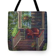 Porch With Red Wicker Chairs Tote Bag