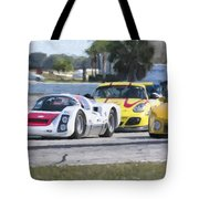 Porsches In The Corner At Sebring Raceway Tote Bag