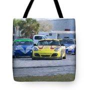 Porsches Rounding The Corner At Sebring Tote Bag