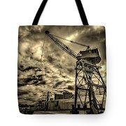 Port Crane At Sunset Tote Bag