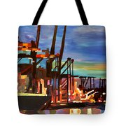 Port Of Hamburg With Container Ships Tote Bag